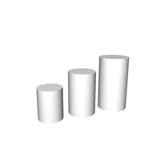 Podiegruppe runde. Produktpodier i froskellige højder. Ø50 cm.