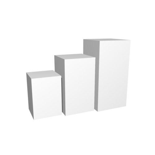 Podiegruppe kvadratisk. Produktpodier i forskellige højder. 45x45 cm.