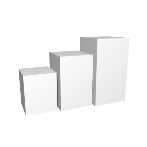 Podiegruppe kvadratisk. Produktpodier i forskellige højder. 50x50 cm.