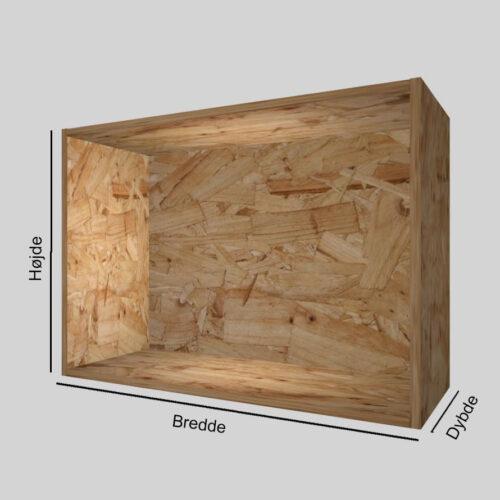 OSB udstillingskasse dybde 30 cm. Til udstilling af varer. Alttilbutikken.dk. Alttilbutikken. Alt til butikken.