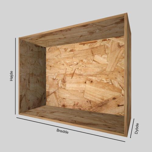 OSB udstillingskasse dybde 40 cm. Til udstilling af varer. Alttilbutikken.dk. Alttilbutikken. Alt til butikken.