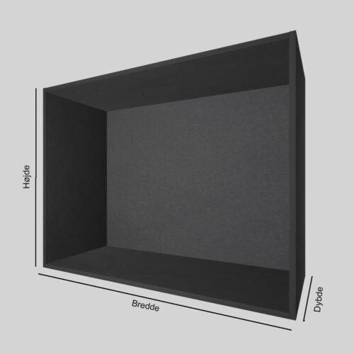 Sort MDF udstillingskasse dybde 40 cm. Til udstilling af varer. Alttilbutikken.dk. Alttilbutikken. Alt til butikken.