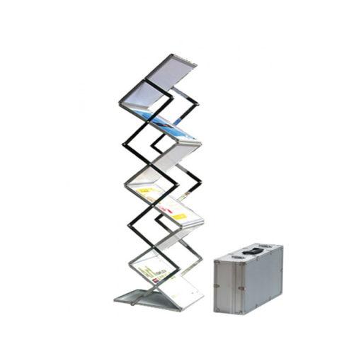 Pop-up brochurerstativ. Zigzag formet til A3 format. Teknisk foto.