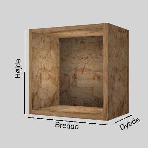 OSB udstillingskasse dybde 20 cm. Til udstilling af varer. Alttilbutikken.dk. Alttilbutikken. Alt til butikken.