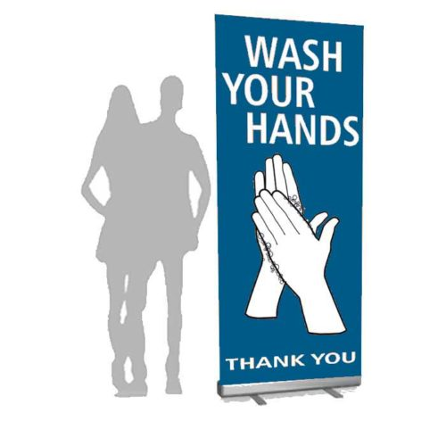 Covid-19 roll-up løsning. Alt til butikken. Alttilbutikken.dk. Alttilbutikken. Wash your hands.
