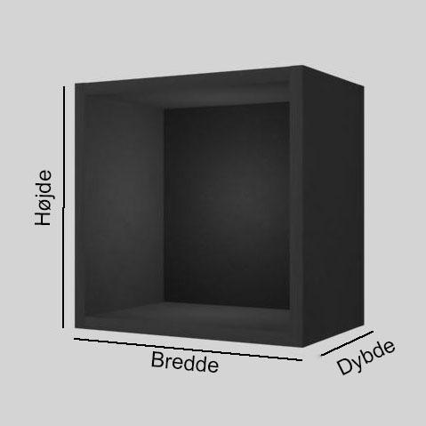Sort MDF udstillingskasse dybde 20 cm. Til udstilling af varer. Alttilbutikken.dk. Alttilbutikken. Alt til butikken.